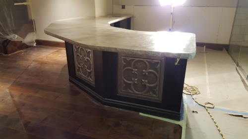 Solid concrete bar top
